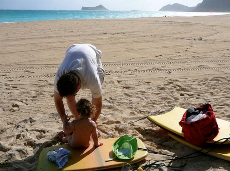 Sus primeras vacaciones en la playa