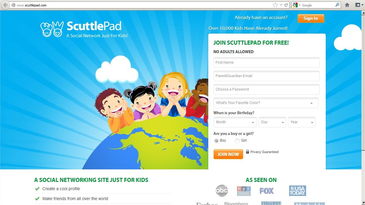 Redes sociales para niños